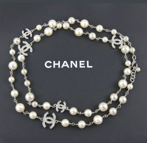 Chanel Chanel Necklace Pearls 5 Crystal C Station CC Logos 42