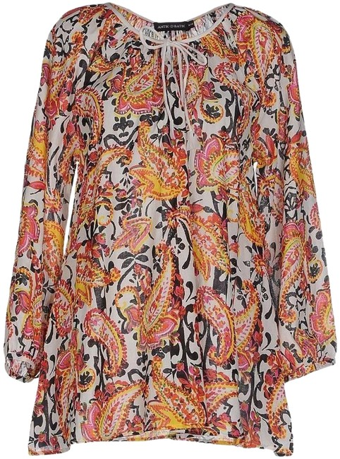 Item - Yellow Floral Printed Peasant Sleeve New Blouse Size 6 (S)