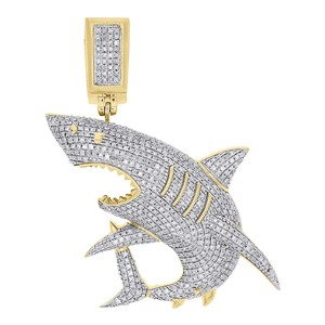 10k Yellow Gold Diamond Great White Shark Jaws Pendant Charm 1.39 CT.