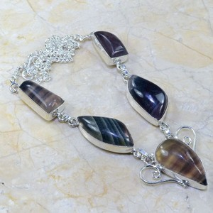 Genuine Fluorite Gemstone Necklace Free Shipping