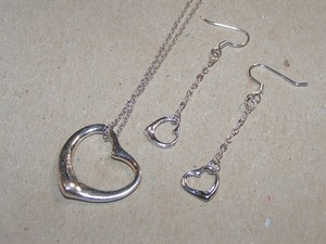 3pc Silver Floating Heart Jewelry Set Free Shipping