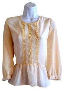 Other Sheer Lacy Ruffled Crochet Lace Top Cream