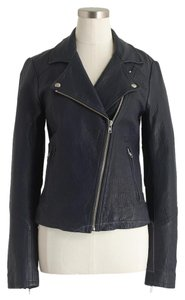 J.Crew Navy Moto Biker Leather Motorcycle Motorcycle Jacket