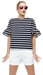 J.Crew Ruffle Striped Cotton Sweater