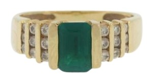 Other Vintage Emerald And Diamond Ring- 14k Yellow Gold