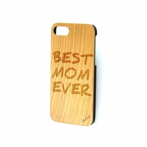 Case Yard NEW Cherry Wood iPhone Case with Best Mom Ever Logo, iPhone 6+/6s+