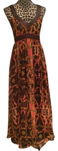 Brown/Pink Multi Color Maxi Dress by French Connection Flowy Empire Waist Maxi