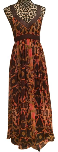 Item - Brown/Pink Multi Color Flowy Patterned Long Casual Maxi Dress Size 4 (S)