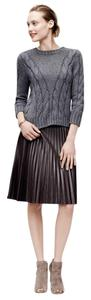 Ann Taylor Lined Pleated Faux Leather Skirt Brown