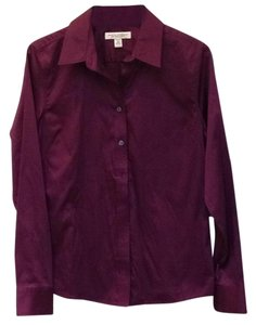 Banana Republic Non-iron Fitted Stretchy Button Down Shirt Plum