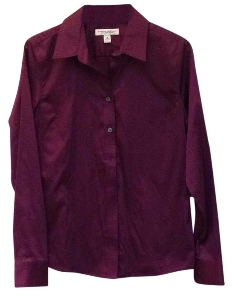 8fd06419 Banana Republic Non-iron Fitted Stretchy Longsleeve Button Down Shirt Plum  Image 0 ...