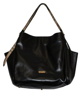 Burberry Lambskin Checkered Tote in Black