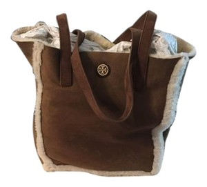 Tory Burch Shearling Leather Tote in Brown