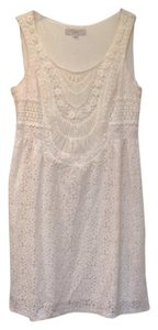 Ann Taylor LOFT Crochet Bib Sleeveless Lace Lined Dress