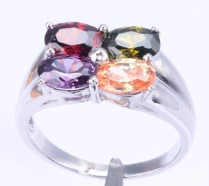 Morganite Garnet Amethyst Topaz Fashion Ring Free Shipping