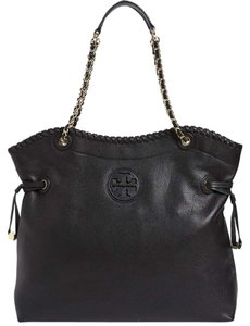 Tory Burch Large Big Marion Leather Slouchy Tote in Black