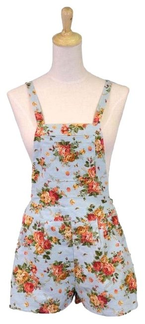 Item - Teal Girl Spring Country Floral Print Overall Floral Shorts Romper/Jumpsuit