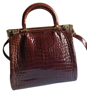 KWANPEN Crocodile Raffles Alligator Tote in BROWN