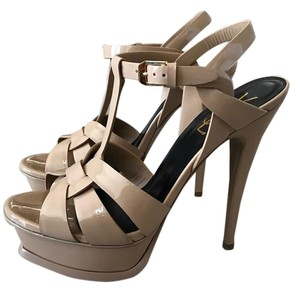 Saint Laurent CLASSIC TRIBUTE 105 SANDAL in PINK PATENT LEATHER Dark nude Sandals