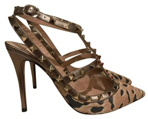 Valentino Leopard Rockstud Studded Stiletto Fur bronze Pumps