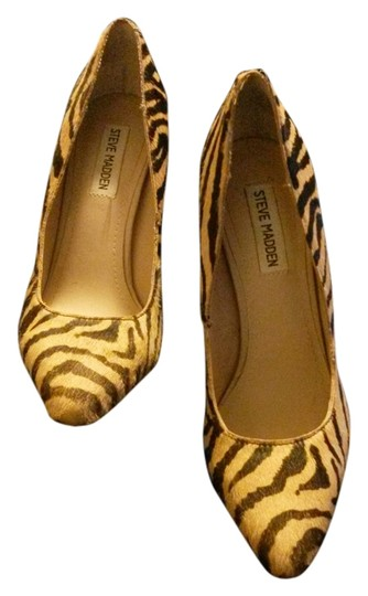 Steve Madden Hair Calfskin Cheetah Print Tiger Multi Print Animal Print Pony Pumps