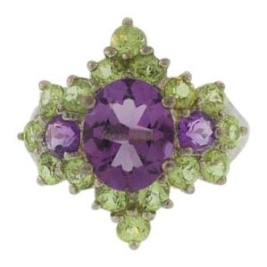 Amethyst And Peridot Statement Ring- Sterling Silver