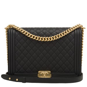 Chanel Boy Cc Black Caviar Shoulder Bag