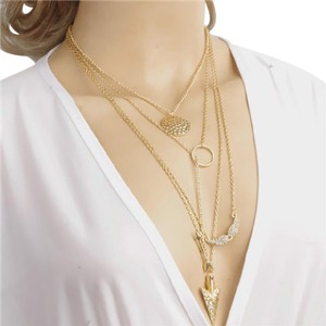 Other Multi-strand Statement Charm Necklace