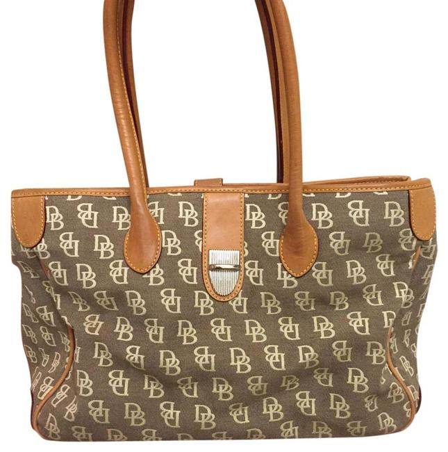 Dooney & Bourke Beige Leather/Cloth Tote Dooney & Bourke Beige Leather/Cloth Tote Image 1