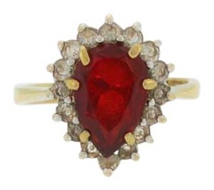 Other Gold Layered Pear Cut Ruby And Diamond Ring-Sterling Silver
