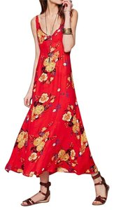 Red Multi Maxi Dress by Free People Bohemian Maxi Flower
