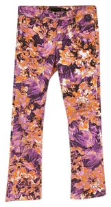 Just Cavalli Straight Pants Purple, Orange, White, Black