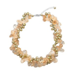 Citrine And Green Cultured Freshwater Pearls Necklace