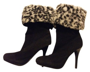 Other Suede Fur Heels High black/leopard print Boots