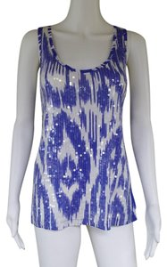 J.Crew Sequin Ikat Cotton Top Blue