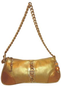 Juicy Couture Refurbished Leather Gold Brass Lined Shoulder Bag