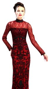 Sue Wong Beaded High Collar Lace Trim Long Sleeves Dress