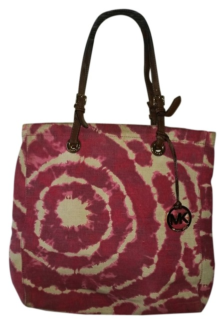 Item - Bag Jet Ivory and Pink Tie Dye Canvas Tote