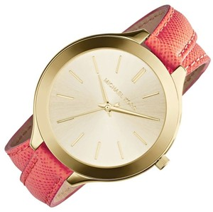 Michael Kors Michael Kors MK2332 Gold Tone Double Wrap Orange Leather Watch