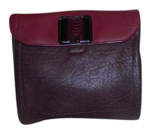 Botkier Mixed Leather Burgundy Clutch