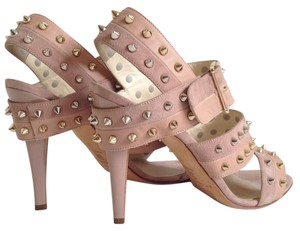 Brian Atwood Studded Suede Leather Tri-band Blush Sandals