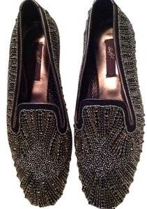 Donald J. Pliner Size 6.5m Soft Leather Lining Black & Metallic Grey Flats