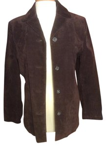 New York & Company Suede Leather Button Down Brown Leather Jacket