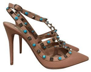 Valentino Rockstud Studded Beaded Stiletto Leather nude Pumps