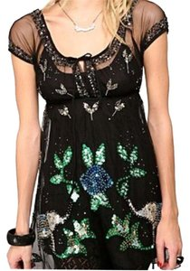 Free People short dress Black Sequin Elephant Cap Sleeve on Tradesy