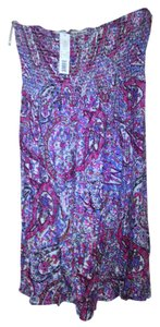 Justify short dress pink and blue Paisley Strapless on Tradesy