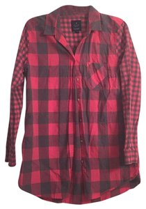 American Eagle Outfitters Button Down Shirt Red and Gray Plaid
