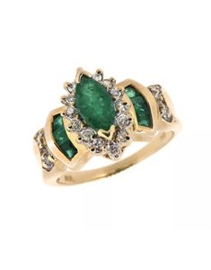 Other size 7.25, 14k yellow gold, diamond, green emerald ring