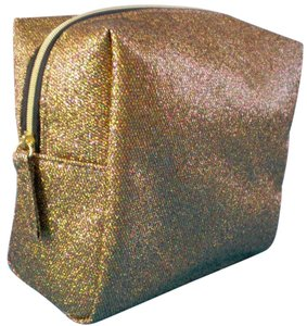 Saks Fifth Avenue Saks Fifth Avenue Gold Glitter Cosmetics Makeup Bag Clutch Sac Pouch