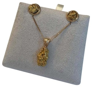 14K Yellow Gold Artsy Nugget Necklace and Earrings Set